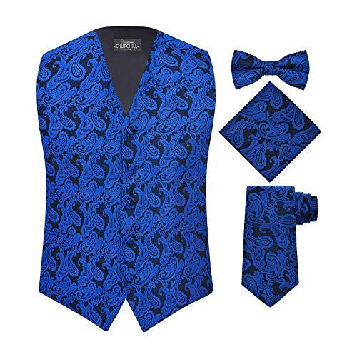 S.H. Churchill & Co. Men's 4 Piece Paisley Vest Set, with Bow Tie, Neck Tie & Pocket Hanky - M, Royal Blue/Black]()