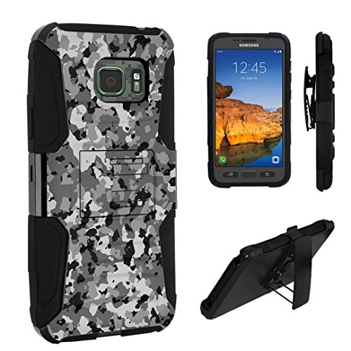 Galaxy S7 Active Case, DuroCase Hybrid Dual Layer Combat Armor Style Kickstand Case w/ Belt Clip Holster for Samsung Galaxy S7 Active (AT&T, 2016) SM-G891A - (Camouflage Black)