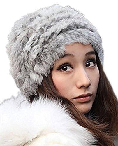 [Veenajo Womens Winter Hat Knitted Rabbit Fur Hats Beanie Hats (Grey)] (Pork Pie Hat For Sale)
