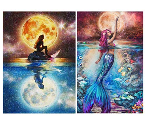 2 Sets 5d Diamond Painting Kits for Adults Kids Mermaid Full Drill Diamond dotz for Home Wall Decor 11.8x15.8 INCH (A-Pack)