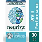 Fast-Acting Brain Supplement - NEURIVA Plus (30Count in a Bottle), Plus B6, B12 & Folic Acid, Supports 6 Indicators of Brain Performance: Focus, Memory, Learning, Accuracy, Concentration & Reasoning