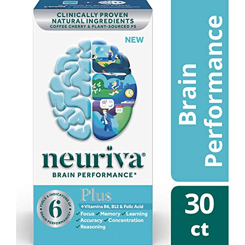 Fast-Acting Brain Supplement - NEURIVA Plus (30Count in a Bottle), Plus B6, B12 & Folic Acid, Supports 6 Indicators of Brain Performance: Focus, Memory, Learning, Accuracy, Concentration & ()