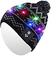 Qshell Light Up Beanie Hat, Stylish Unisex Men Women LED Knit Cap for Indoor and Outdoor, Walking, Skiing, Snowboard...