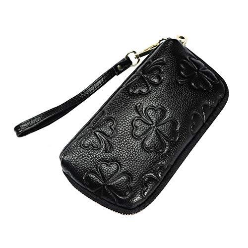 Women's Genuine Leather Cell Phone Wristlets Wallet,Welegant Versatile Zipper Clutch Purse Bag (4-Leaf Clover, Black)