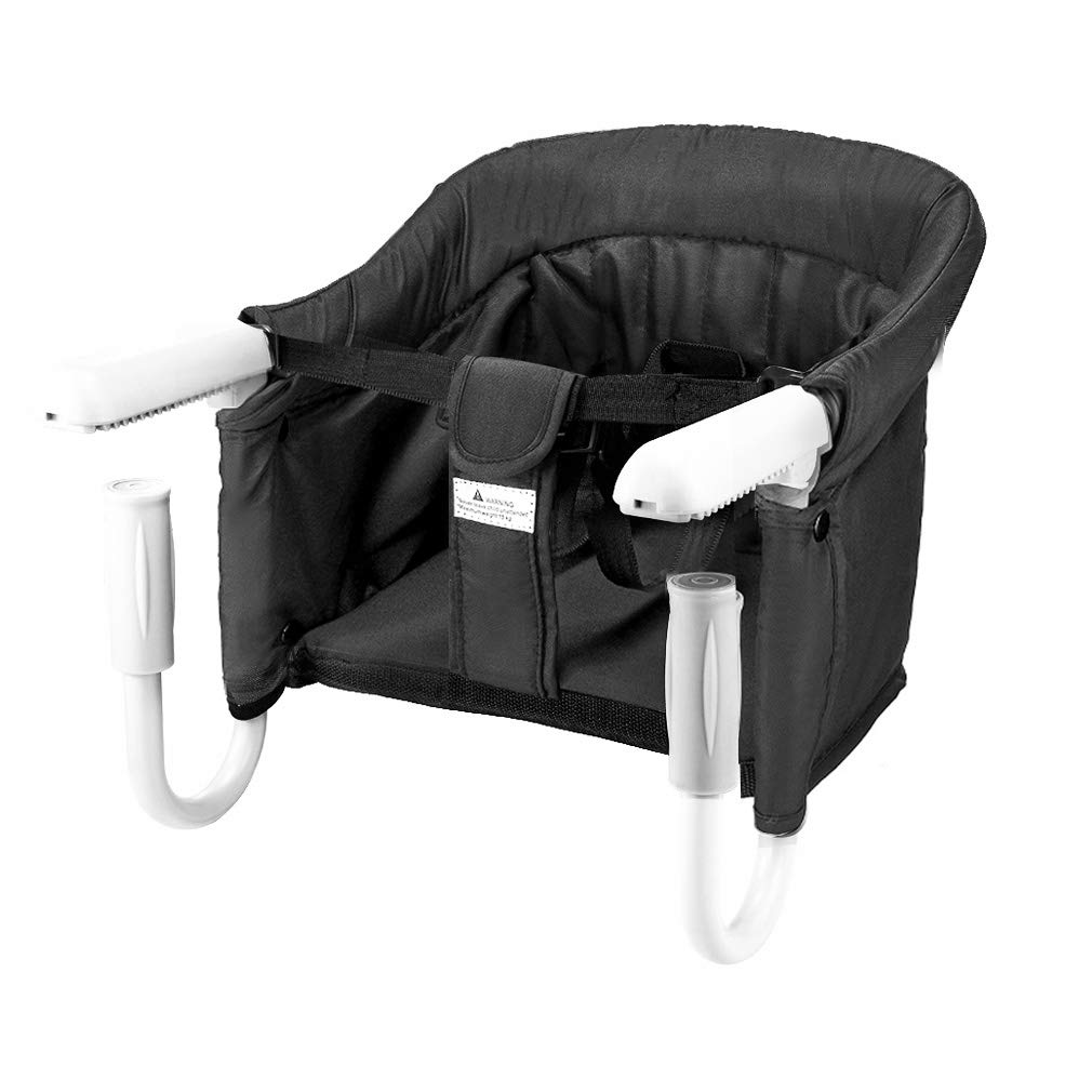 BeMAX Safe Hook On High Chair, Dining Table Chairs for Baby or Toddler, Washable Feeding Seat, Tight Fixing Clip on Table High Chair (Black) by BeMAX