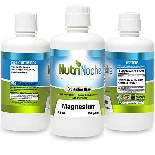 NutriNoche Liquid Magnesium- Concentrated Dose of 30 PPM of Nano Magnesium (32 Ounces) - Colloidal ()