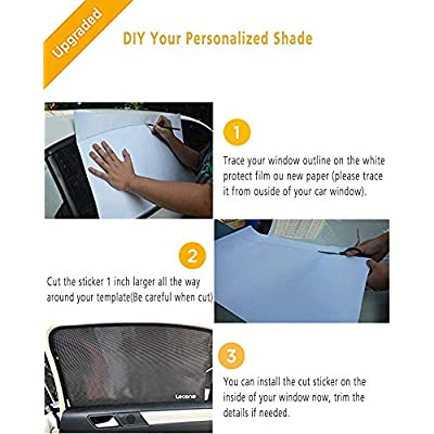 Lecone Upgraded Car Window Tint Film, Reusable Static Cling Shade, Electrostatic Self-Adhesive Black Sun Blocker Screen for Vehicle New (Pack of 2): Automotive