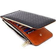 Edmen RFID Blocking Women's Leather Zipper Wallet Card Case Purse (Black)