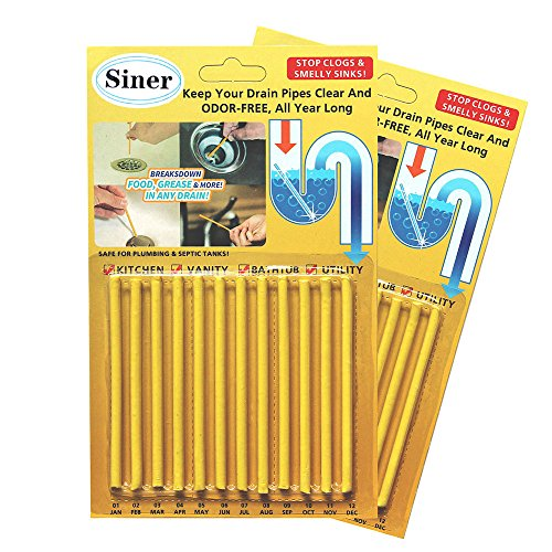 Siner Drain Cleaner Sticks, Sink Deodorizer As Seen On TV, Sink Freshener Cleaner Sticks to Keep Odor Free for Bathroom, Kitchen, Toilet, Shower drain (Lemon, 24 Pcs)