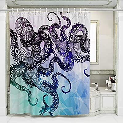 Bathroom Decoration Shower Curtains Art Painting Octopus PrintingNon Toxic Tasteless Waterproof Mildew Antibacterial Polyester Fabric Curtainwith12