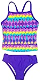 Speedo Girls Sporty Splice Tankini 2 Piece Swimsuit (8, Purple Teal Reflection)