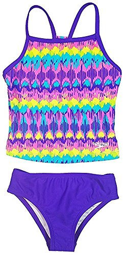Speedo Girls Sporty Splice Tankini 2 Piece Swimsuit (14, Purple Teal - Two Training Piece Swimsuits