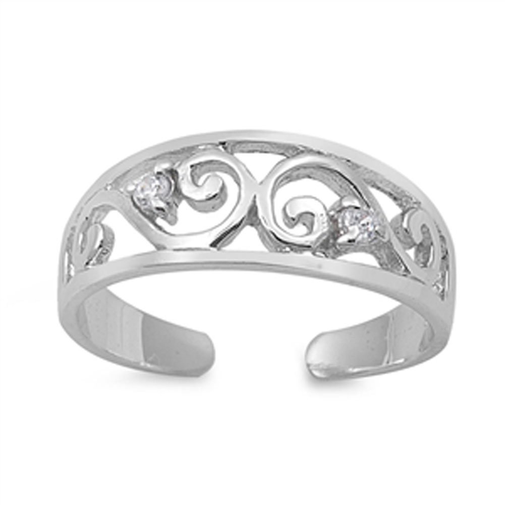 Infinity Swirl Clear Simulated CZ .925 Sterling Silver Toe Ring