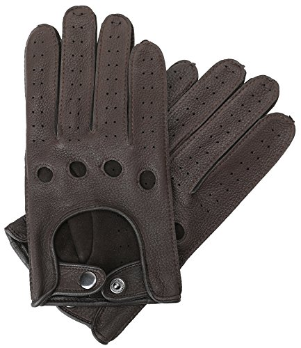 Mens Smart Soft And Excellent Quality Italian Deerskin Brown Leather Driving Gloves For Men