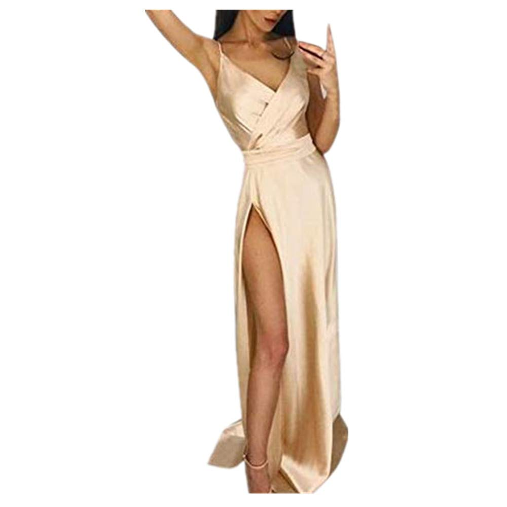 St.Dona Sexy Womens Maxi Dress Solid High Waist Hollow Out Spaghetti Strap V-Neck Open Back Stitching Party Dresses Beige