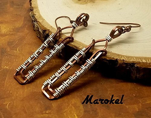 (Column Wire Weave Earrings Square Copper Wire wrapped)