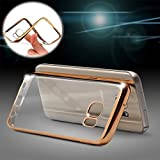 M.G.R Transparent Silicon Electroplated Edges TPU Back Case Cover for HTC Desire 620G -(Transparent/Gold Border)