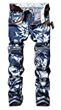 FEESON Men's Stitched Straight Fit Snowflake Moto Jeans with Decorated Zippers W32