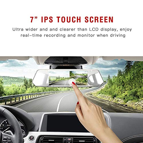 """7 Inch Touch Screen Rearview Mirror Car Camera 7"""" Dash Car DVR Cam Front and Rear Dual Lens Night Vision Video Recorder Reversing Backup Camera"""