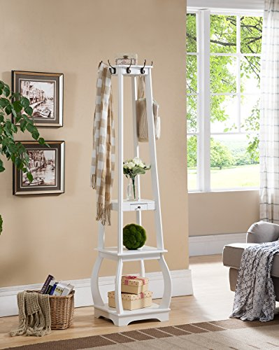 Kings Brand Furniture Entryway Coat Rack with Storage Shelves & Drawer, White