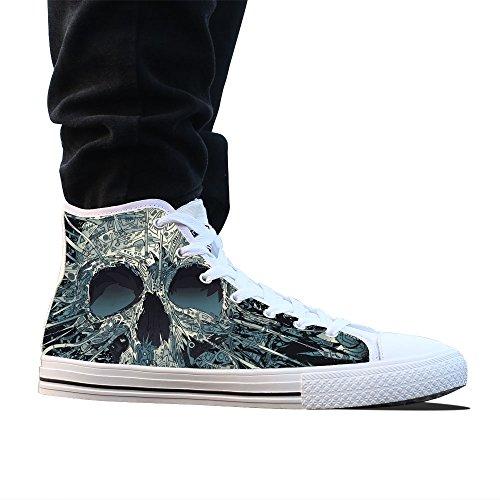 Canvas Schoenen, Custom Schets Schedel Hoge Top Dames Witte Klassieke Casual Mode Canvas Sneakers