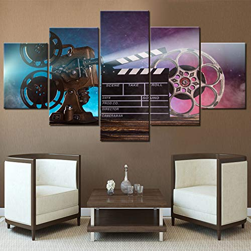 Wall Pictures for Living Room Retro Movie Projector Paintings Filmmakers Equipmen Artwork Multi Panel Canvas Wall Art Modern House Decor Wooden Framed Ready to Hang Posters and Prints(60''Wx32''H)