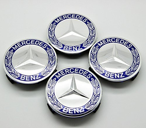 Searlleng 4 pieces 75mm Dark Blue Center Wheel Hub Caps For Mercedes-Benz,Applicable to all models