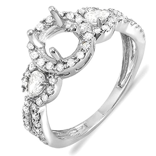 0.65 Carat (ctw) 14K White Gold Round & Pear Diamond Bridal Semi Mount Engagement Ring (Size 8) Round Diamond Pear Semi Mount