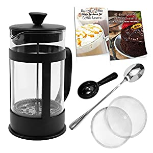 French Press Coffee Maker Bundle ~ 34 Oz (8 4oz.cups), Stainless Steel Components, Double Filter, Borosilicate Glass, 5 FREE Bonuses, Best Coffee Press Pot
