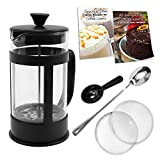 disney coffe maker - French Press Coffee Maker Bundle ~ 34 Oz (8 4oz.cups), Stainless Steel Components, Double Filter, Borosilicate Glass, 5 FREE Bonuses, Best Coffee Press Pot