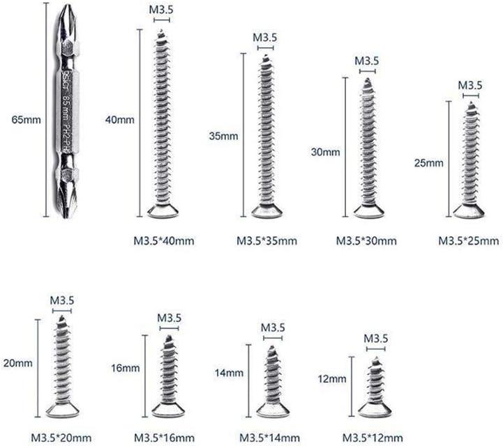 Tap Bolts 242Pcs M3.5 Screw Set Stainless Steel Flat Head Screw Self-tapping Screw Cross Wood Screws Kit Screw Thread Screws