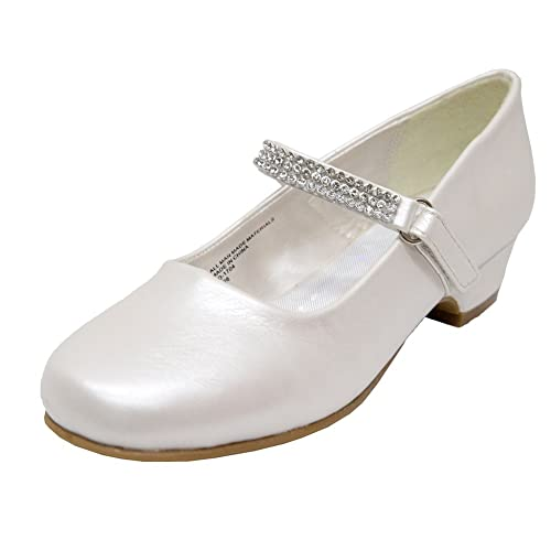 Girls Heels Girls Dress Shoes Mary Jane with Rhinestones(9M Toddler Ivory)