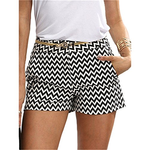 Doris Batchelor Trendy Woman Shorts Summer Black and White Mid Waist Button Fly Casual Pocket Cotton Straight Shorts free shipping