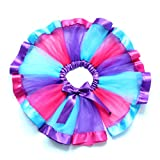 Luyun Girls Layered Rainbow Tutu Skirt Bow Dance Tulle Dress Ruffle