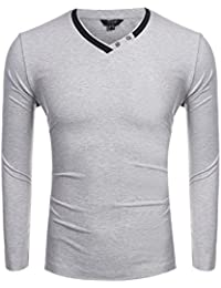 "<span class=""a-offscreen"">[Sponsored]</span>Mens Long Sleeve V-Neck Cotton T-Shirt Casual Pullover with Mental Ring"