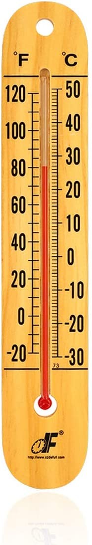 defull Extra Large 10.5-Inch Wood Thermometer Wall Thermometer Wooden Indoor Thermometer with Double Scales ℉&℃ Household Thermometer for Home Office Warehouse Greenhouse
