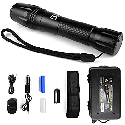 Brightest Tactical Flashlight, LED Nightlight Flashlight - Tactical Flashlight High Powered, Zoomable for Emergency Camping Hiking - Great Gift Surprise (Black with Holster)
