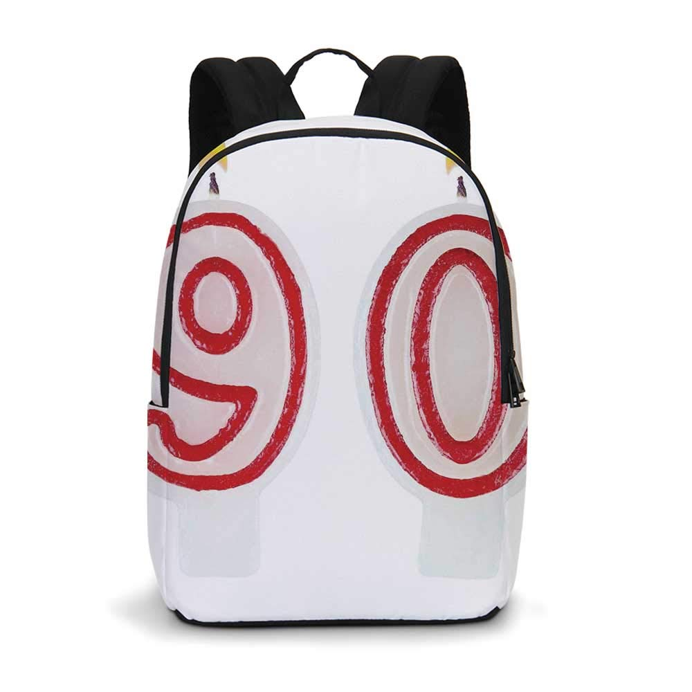 90th Birthday Decorations Modern simple Backpack,Burning Birthday Candles in Red and White Desert Pastry for school,11.8''L x 5.5''W x 18.1''H