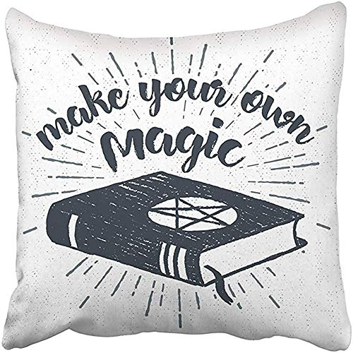 Cvhtr3m Throw Pillow Cover Polyester 18X18 Inches Black Halloween Label Spells Book Make Your Own Magic Inspirational Lettering Decorative Cushion Pillow Case Square Two Sides Print -