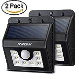Mpow Lamparas Solares 8 LED Impermeable con Sensor de Movimiento, 2 Unidades - Color Negro