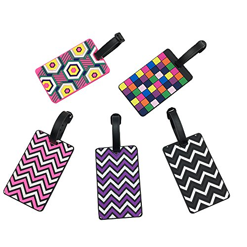 Mziart Pack of 5 Colorful Luggage Suitcase Tags Labels Trave