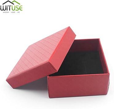 Caja de regalo cuadrada roja para anillos, collares, joyas, caja de regalo: Amazon.es: Bricolaje y herramientas