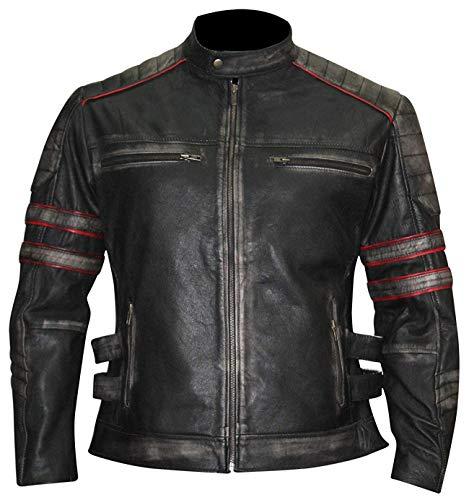 Mens Vintage Cafe Racer Retro Distressed Black Biker Leather ()
