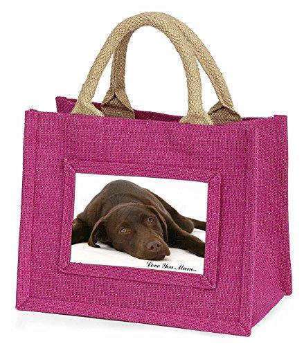 Advanta–Mini Pink Jute Tasche Labrador Hund Love You Mum Little Mädchen klein Einkaufstasche Weihnachten Geschenk, Jute, pink, 25,5x 21x 2cm