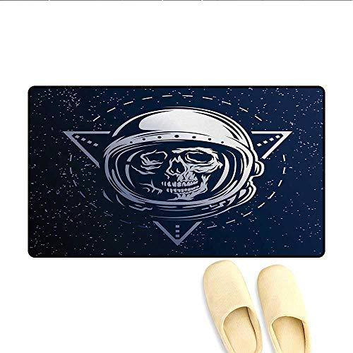 Doormat,Dead Skull Head Icon Cosmonaut Costume Astronomy Terrestrial Horror Scare Image,Bath Mats Carpet,Grey -