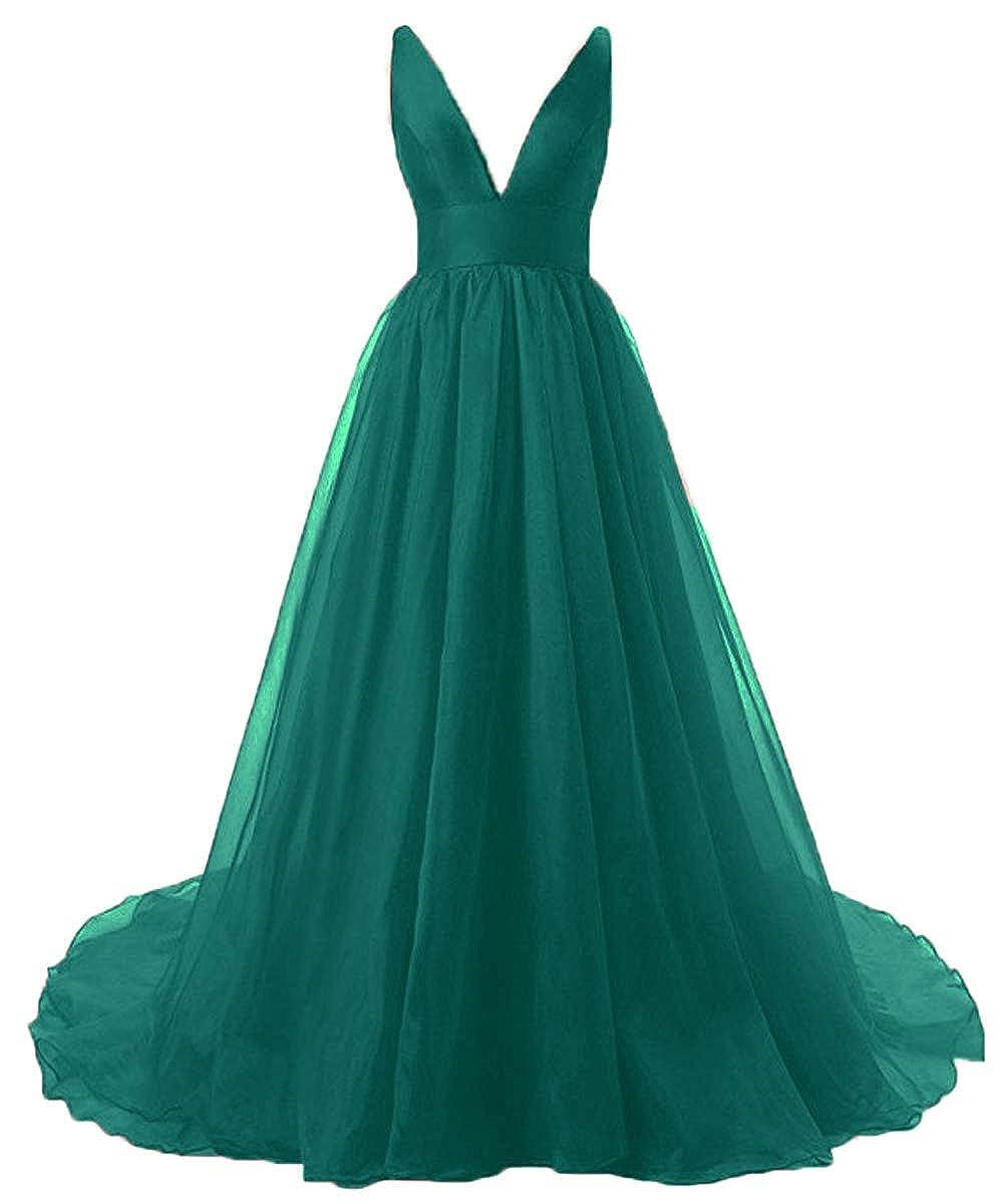 Teal Fashionbride Women's Sexy Formal Part Dress Organza Deep VNeck Backless Long Prom Dresses