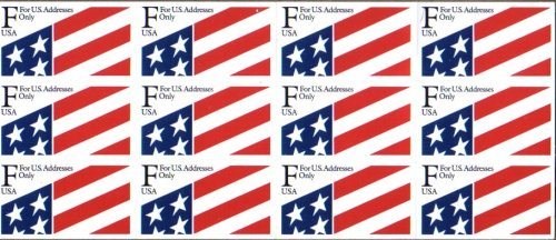 Us Stamps Booklet Pane - 1991 (NON-DENOMINATED) 'F' & FLAG #2522a Booklet Pane of 12 x 29 cents US Postage Stamps