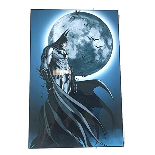 "Batman Begins Costume Vs Dark Knight (Agility Framed Batman and Moon Knight (Batman Teaser) 10""x15"" Poster in Basic Solid Wood Frame Wall Art)"