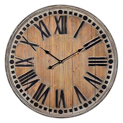 Amazoncom B Lane Large Wooden Round Wall Clock 315 Analog