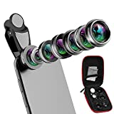 Cell Phone Camera Lens Kit 7 in 1 Clip-on Universal phone Lens set, Telephoto Lens 2X,Fisheye 198º, 0.36X Super Wide Angle Lens,0.63X Wide Lens,15X Macro Lens,CPL,Kaleidoscope Lens,with Storage Box